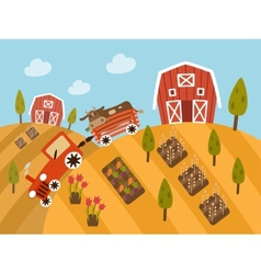 Organic Farm Products landscape view vector image