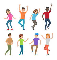 People dance big set of characters vector
