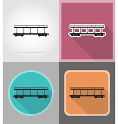 Railway transport flat icons 10 vector
