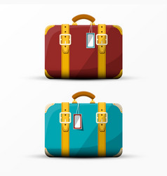 Retro suitcase vintage suitcases set isolated on vector
