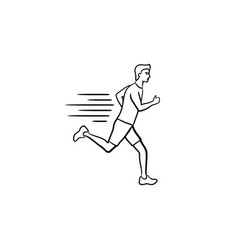 Running man hand drawn outline doodle icon vector