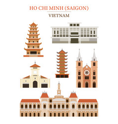 Saigon vietnam landmarks architecture building vector