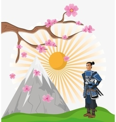 Samurai man cartoon design vector image