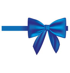satin blue ribbon and bow wrapping vector image
