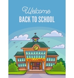 School building for banner or poster vector image