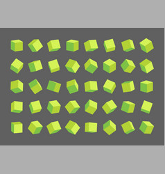 set different green cubes vector image