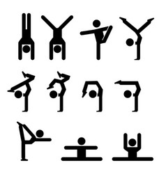 Set gymnastics icon in silhouette vector