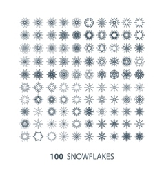 set of 100 graceful snowflakes vector image