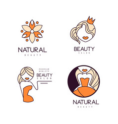 set of 4 geometric logos for beauty salon vector image