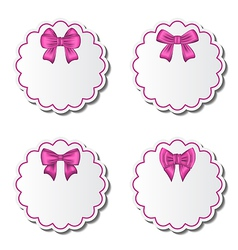Set of beautiful cards with pink gift bows vector