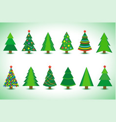 set of christmas tree isolated vector image