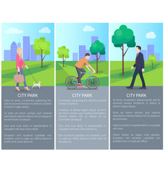 set of city park color banners with varied people vector image
