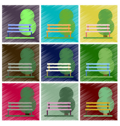 Set of flat icons in shading style bench in park vector