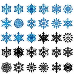 Set of thirty blue and black snowflakes vector image