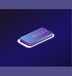 Shift covered with a neon backlit keyboard button vector