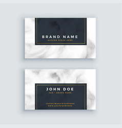 simple black and white business card with marble vector image