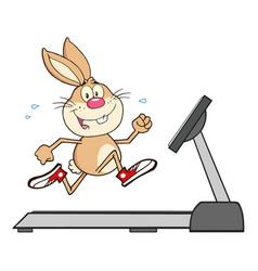 smiling rabbit cartoon character running vector image