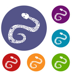 Snake icons set vector