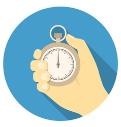 Stopwatch in hand vector image