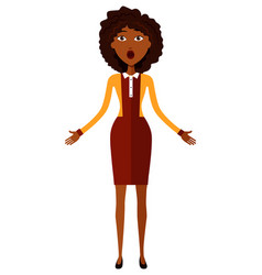 Surprised african american business woman throwing vector