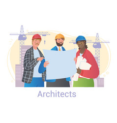 team of architects looking at plan vector image