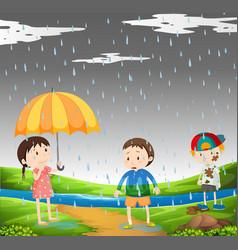 Three kids in the rain vector