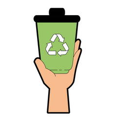 Trash bucket with recycle sign icon vector