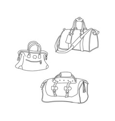 Travel bags hand drawing sketch suitcases vector