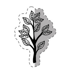 Tree branch ecology monochrome vector