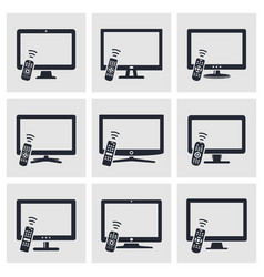 Tv with remote control icons set vector