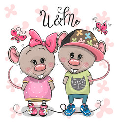 two cartoon rats on a flowers background vector image