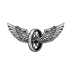 vintage design with winged motorcycle wheel vector image