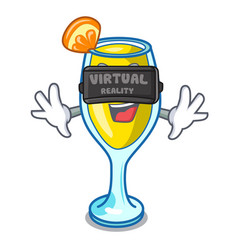 Virtual reality mimosa mascot cartoon style vector