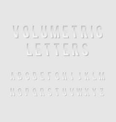 Volumetric cutout alphabet letters realistic 3d vector