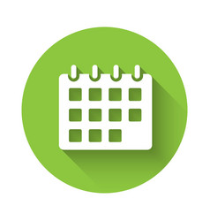 White calendar icon isolated with long shadow vector
