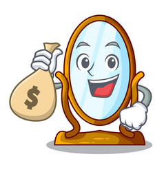 with money bag character big mirror in beautiful vector image