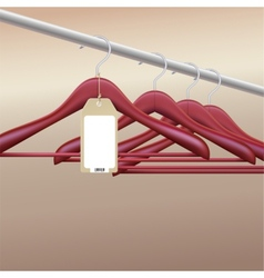 Wooden hangers with blank tag vector image