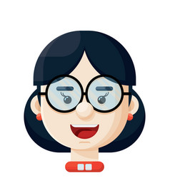 Young woman wearing eyeglasses icon vector