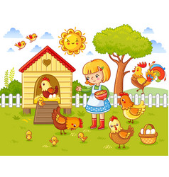 a little girl feeds chickens and hens vector image