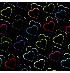 Black background with colored hearts vector image vector image