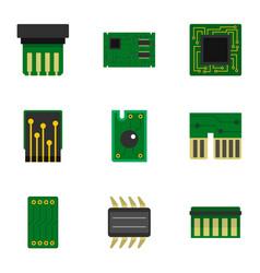 hardware icons set flat style vector image