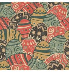 seamless easter eggs pattern vector image