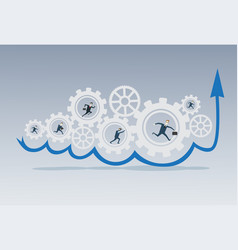 business people group running in cog wheel work vector image vector image