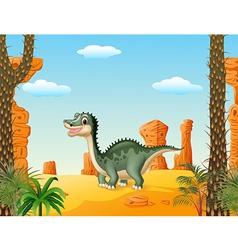 Cartoon cute dinosaur withprehistoric t background vector image vector image