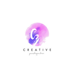 cz watercolor letter logo design with purple vector image vector image