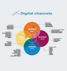 Infographics digital channels color diagram of the vector image