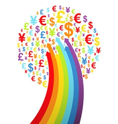 Abstract rainbow money tree vector image vector image
