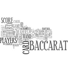 baccarat history and american baccarat rules text vector image