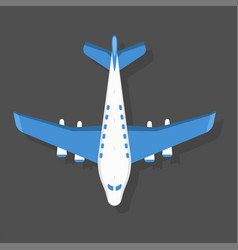 Blue airplane top view and vector
