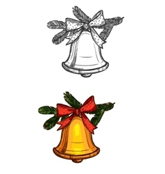 Christmas bell isolated sketch icon vector image vector image